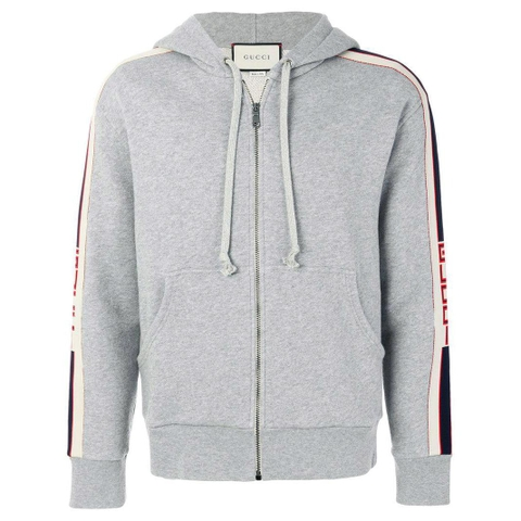 ÁO GUCCI HOODED ZIP WITH GUCCI STRIPE