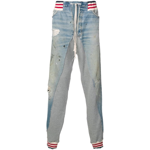 QUẦN GREG LAUREN BLUE SPLIT SWEAT JEANS