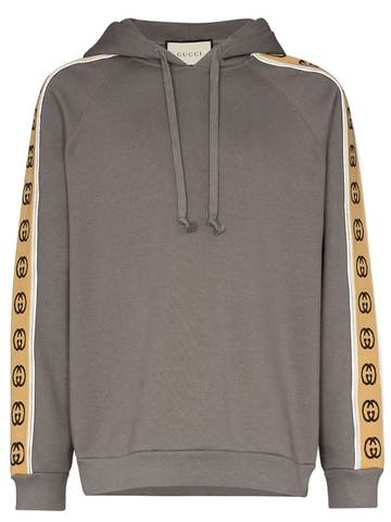 ÁO HOODIE GUCCI LOGO TAPE GREY CHUẨN 1:1 AUTHENTIC