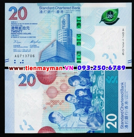 Hong Kong 20 Dollars 2020 UNC Standard Chartered Bank