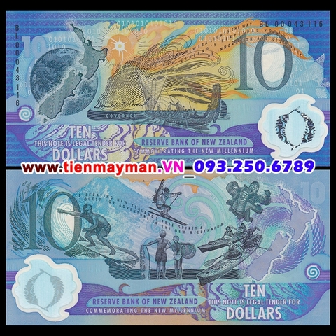 New Zealand 10 Dollar 2000 UNC polymer Seri đen
