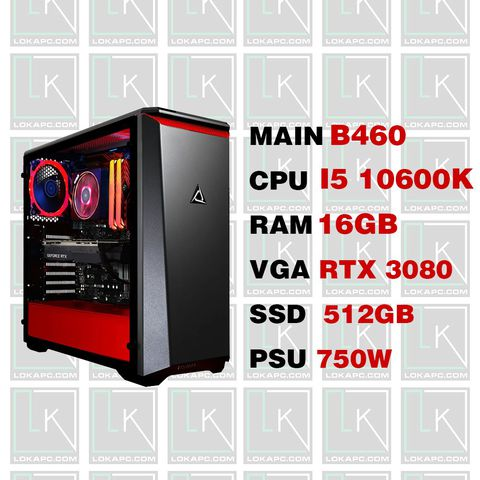 Gaming PC- i5 10600K/ B460/ 16GB/ 512Gb NVME/ RTX 3080/ 750W