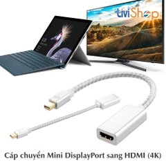 Cáp chuyển Mini Displayport (Thunderbolt) sang HDMI Support full HD 1080p / 4K / 2K (Silver - 23cm)
