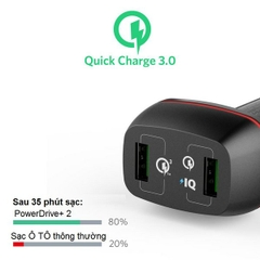 SẠC Ô TÔ ANKER 2 CỔNG, 42W, QUICK CHARGE 3.0 - [POWERDRIVE+ 2, 42W, QC 3.0]