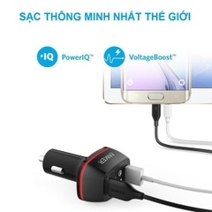SẠC Ô TÔ ANKER 2 CỔNG, 36W, QUICK CHARGE 2.0 - [POWERDRIVE+ 2, 36W, QC 2.0]