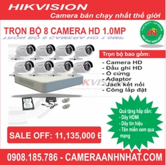 Bộ 8 camera thân HD 1.0Mp Hikvision