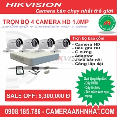 Bộ 4 camera thân HD 1.0Mp Hikvision