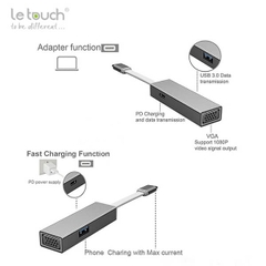LE TOUCH USB 3.0 TYPE-C VGA Hub with Power Delivery