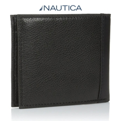Ví Da Nam Nautica Men's Milled Black Leather Passcase