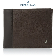 Ví Da Nam Nautica Men's Milled Brown Leather Passcase