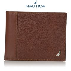 Ví Da Nam Nautica Men's Milled Tan Leather Passcase