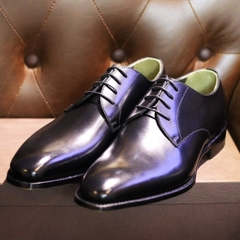 Bespoke Derby Shoes Black With Metal Toe and Signature Name