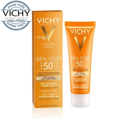 Kem Chống Nắng Có Màu Ngăn Sạm Da, Giảm Thâm Nám Không Gây Nhờn Rít Vichy Ideal Soleil SPF50 UVB+UVA Anti Dark Spots 3in1 Tinted Anti-Dark Spots Care (50ml)