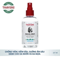 Nước Hoa Hồng Không Cồn Dạng Xịt Thayers Unscented 237ml Alcohol-Free Unscented Witch Hazel Toner Facial Mist
