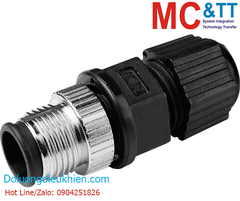 M12D-4P-IP68 CR: 4 Pins M12 D Code Assembly Plug (Male)