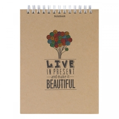 [ Sổ ] Notebook - Live In Present And Make It Beautiful (Gáy Lò Xo)
