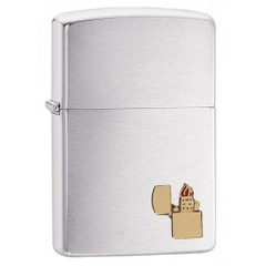 Zippo Lighter Emblem Brushed Chrome