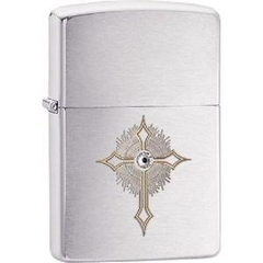 Zippo Cross with Crystal Brushed Chrome