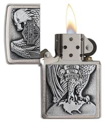 Zippo Made in the USA Eagle and Globe Emblem Brushed Chrome 2