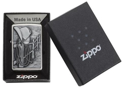 Zippo Cowboy Hat and Rope Emblem Brushed Chrome 4