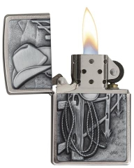Zippo Cowboy Hat and Rope Emblem Brushed Chrome 2