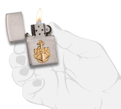 Zippo US Navy Anchor Emblem Brushed Chrome 3
