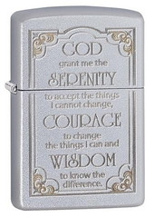 Zippo Serenity Prayer Satin Chrome