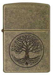 Zippo Tree of Life Antique Brass 1