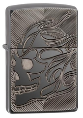 Zippo Deep Carved Flaming Skull