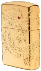 Zippo Red Eyed Dragon 360 Degree Engraving Gold Plate