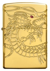 Zippo Red Eyed Dragon 360 Degree Engraving Gold Plate 2