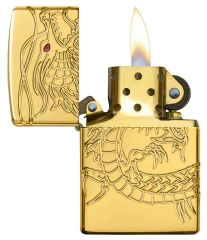 Zippo Red Eyed Dragon 360 Degree Engraving Gold Plate 4