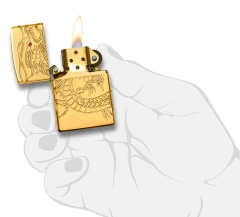 Zippo Red Eyed Dragon 360 Degree Engraving Gold Plate 6