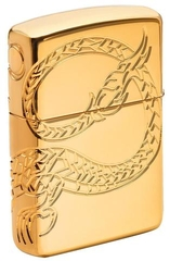 Zippo Red Eyed Dragon 360 Degree Engraving Gold Plate 1