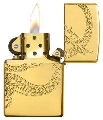 Zippo Red Eyed Dragon 360 Degree Engraving Gold Plate 5