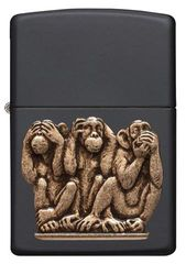 Zippo Three Monkeys Black Matte 1