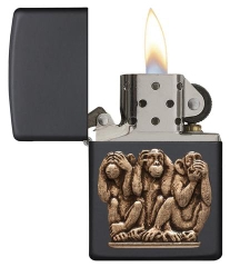 Zippo Three Monkeys Black Matte 2