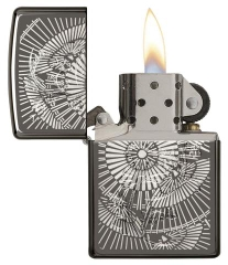 Zippo Asian Floral Black Ice 2
