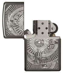 Zippo Asian Floral Black Ice 3