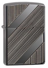 Zippo Armor Coils Deep Carved Black Ice Chrome