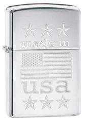Zippo Made In The USA With Flag Polished Chrome