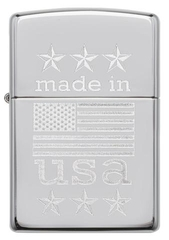 Zippo Made In The USA With Flag Polished Chrome 1