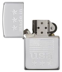 Zippo Made In The USA With Flag Polished Chrome 3