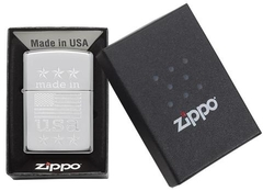 Zippo Made In The USA With Flag Polished Chrome 5