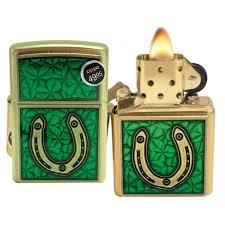 Zippo Clovers And Horseshoe Emblem Brushed Brass 7