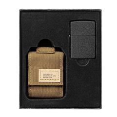 Zippo Tactical Pouch and Black Crackle Windproof Lighter Gift Set 49401
