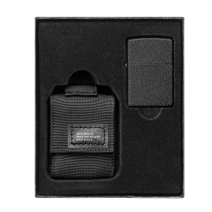 Zippo Tactical Pouch and Black Crackle Windproof Lighter Gift Set 49402