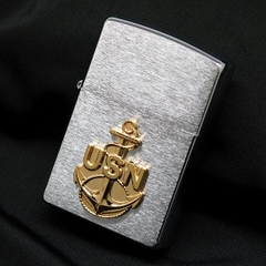 Zippo US Navy Anchor Emblem Brushed Chrome 5