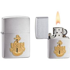 Zippo US Navy Anchor Emblem Brushed Chrome 6