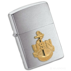 Zippo US Navy Anchor Emblem Brushed Chrome 7